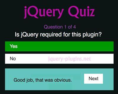 jquery tutorial questions jquery quiz plugin jquery plugins