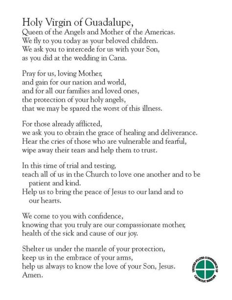 A Prayer to the Holy Virgin of Guadalupe, in English and