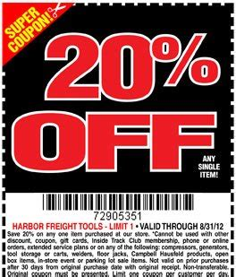 harbor freight coupons 20 off printable harbor freight tools 20 off printable coupon