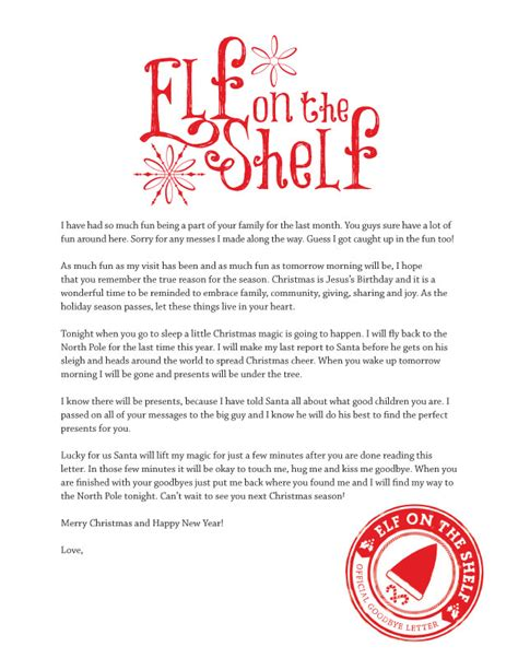 Printable Elf On A Shelf Goodbye Letter | goodbye letter from elf on the shelf printable search