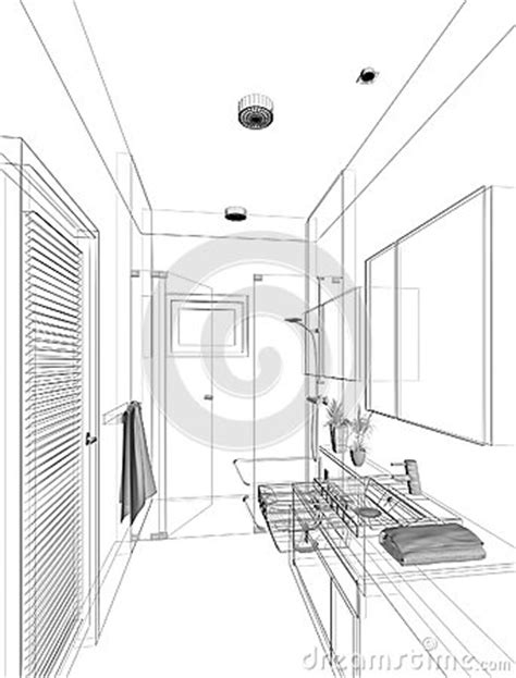 sketch of bathroom sketch design of interior bathroom stock photography image 36944692