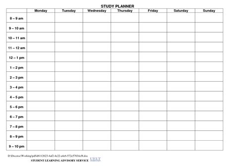 daily study planner template 8 best images of student daily planner template printable