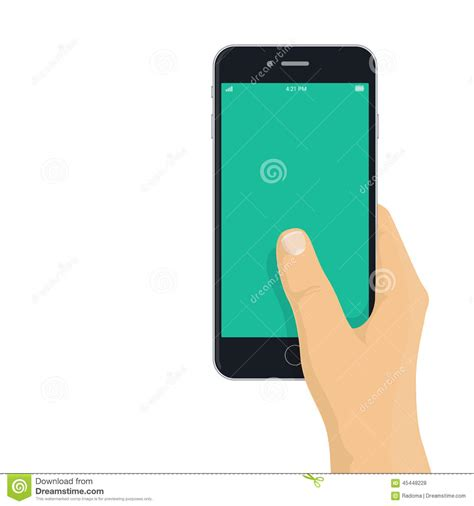 flat design app mockup hand holding phone flat design illustration stock vector