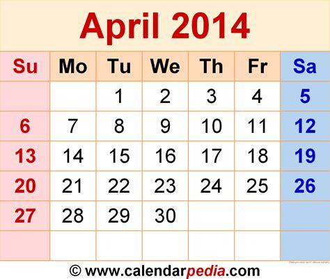 Calendar April 2014 April 2014 Calendars For Word Excel Pdf