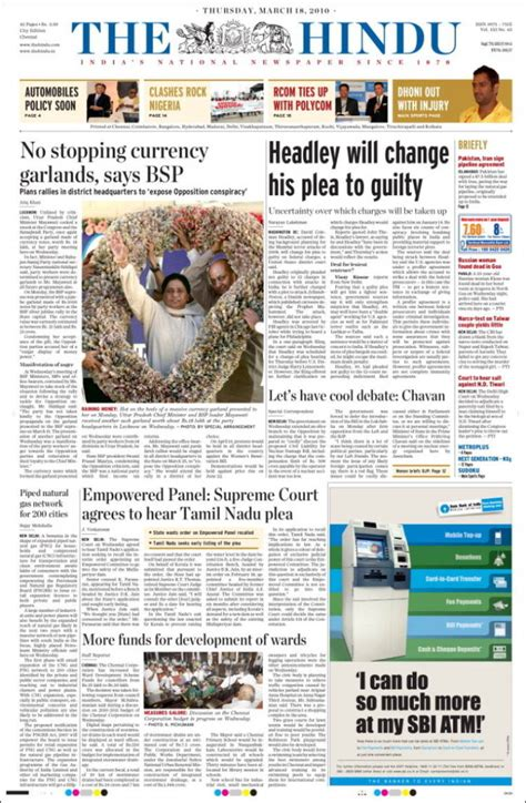newspaper the hindu india newspapers in india thursday