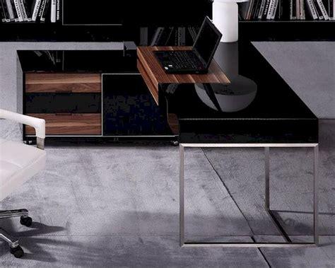 modern black gloss office desk contemporary black gloss and walnut office desk w side cabinet 44f101