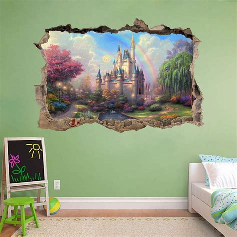 castle wall murals princess castle smashed wall 3d decal removable wall sticker mural h175 ebay