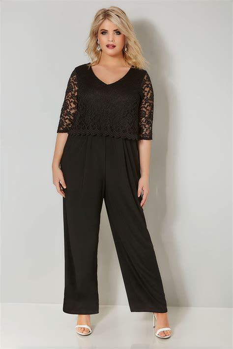 yours londonblack lace overlay jumpsuit plus size 16 to 36