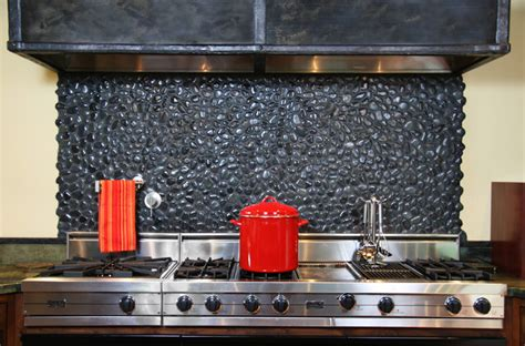 island medan charcoal pebble backsplash