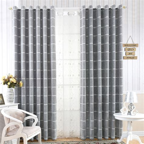 curtains print modern style gray chenille print plaid curtains for