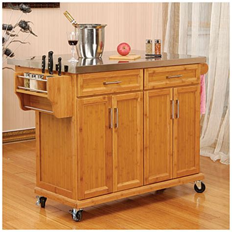 bamboo kitchen island view bamboo stainless steel top kitchen cart deals at big lots