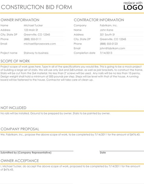 Construction Proposal Quote Templates Download In Excel Word Construction Bid Template