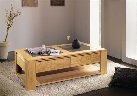 table de salon avec tiroir 2 table basse chene massif