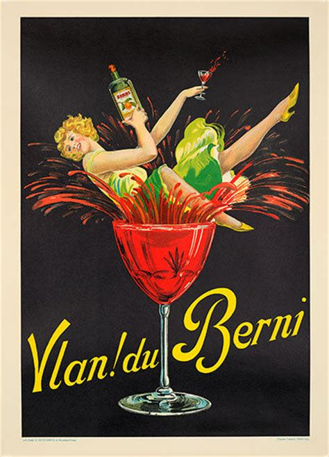 vintage cocktail poster vlan du berni poster ryckers original excellent a