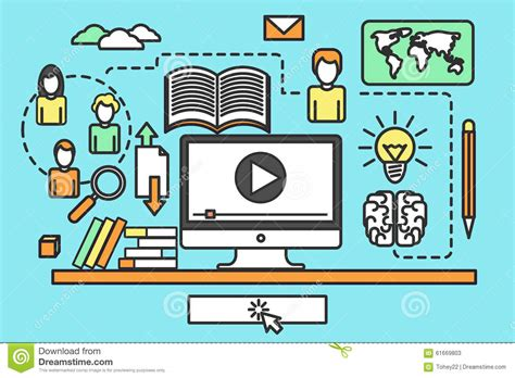 online tutorial lectures online training courses stock vector image 61669803