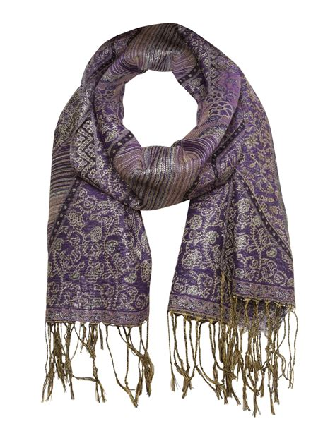 purple and gold pashmina scarf cleo