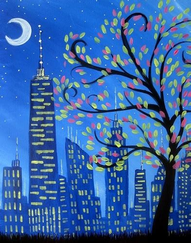 paint nite in nyc paint nite shimmering city