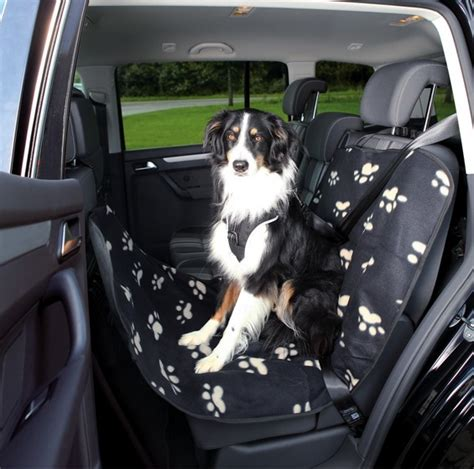 Decke Auto by Hunde Autoschondecke Fleece Optic Schwarz Beige