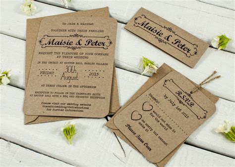 not on the high rustic wedding invitations kraft wedding invitation bundle by norma dorothy notonthehighstreet
