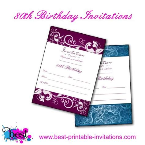 free 80th birthday invitation templates printable 80th birthday invitations