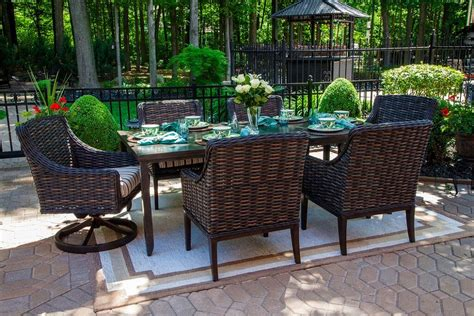 All Weather Wicker Patio Dining Sets Cassini Collection All Weather Wicker 6 Person Patio Furniture Dining Set With Swivel Chairs