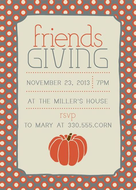 Items Similar To Friendsgiving Thanksgiving Invitation On Etsy Friendsgiving Invitation Free Template