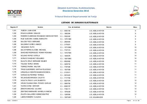 jurados electorales bolivia jurados electorales en tarija elecciones bolivia 2014