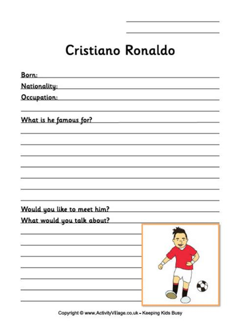 ronaldo biography ks2 cristiano ronald worksheet