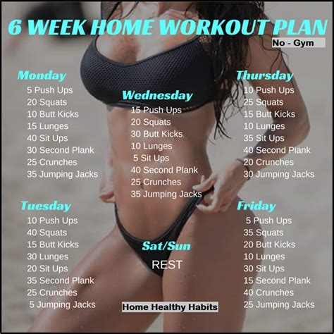 6 week home workout plan ideal exercise routine