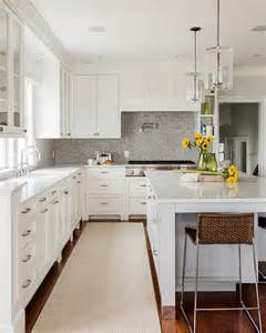 White Kitchen Cabinets With White Backsplash White And Grey Marble Countertops Design Ideas