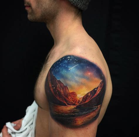 mountains beach amp sunset shoulder piece best tattoo