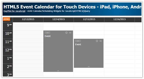 tutorial html5 y javascript html5 event calendar for touch devices ipad iphone