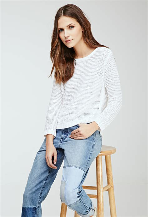 Cardigan 112226001 White Knitted forever 21 knit sweater in white lyst