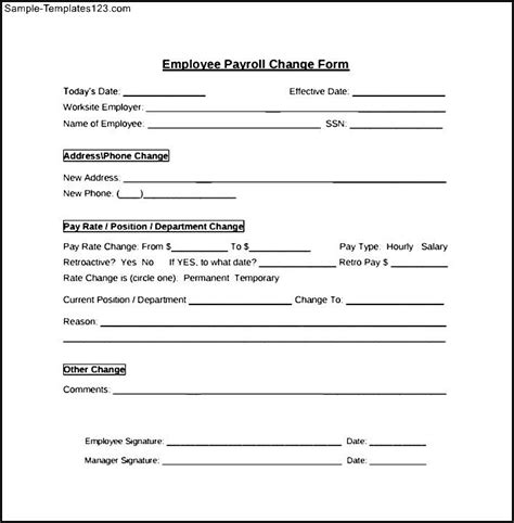 payroll change notice form template payroll change form employee sle templates