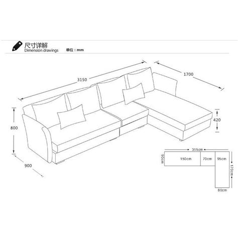 Sectional Sofas Sizes Dimensions Of A Sectional Sofa Smileydot Us