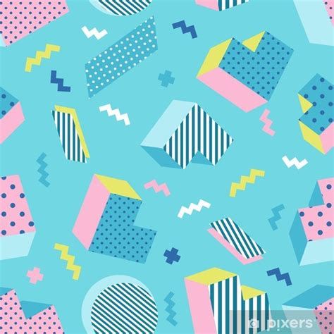 seamless colorful  school geometric blue background