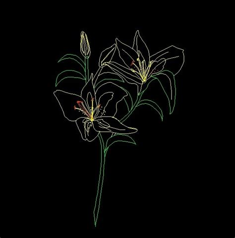 flower design in autocad lilies flowers plant front view elevation 2d dwg block for