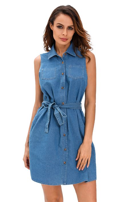 us 8 28 wash belted denim shirt dress dropshipping