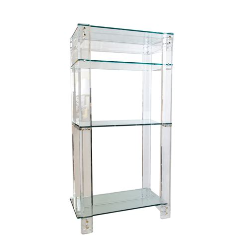 mid century lucite acrylic etagere with three shelves on