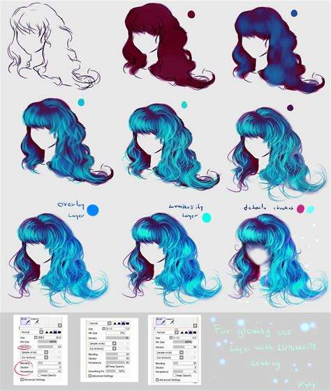 paint tool sai drawing hair glowing blue hair easy step by step by ryky on deviantart