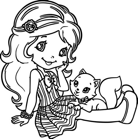 and cat coloring pages strawberry shortcake and cat coloring page