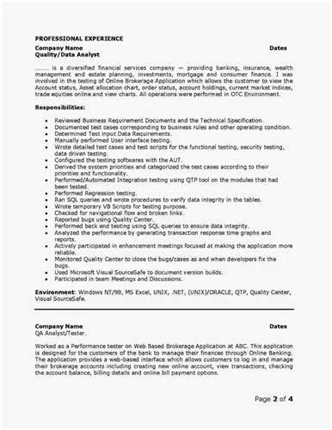 Software Quality Assurance Analyst Sle Resume by Qa Analyst Resumes Indeed Resume Search