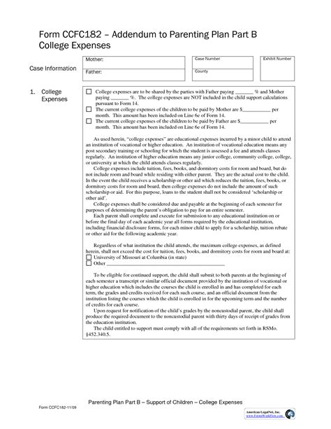 co parenting agreement template 18 best images of co parenting plan worksheet co