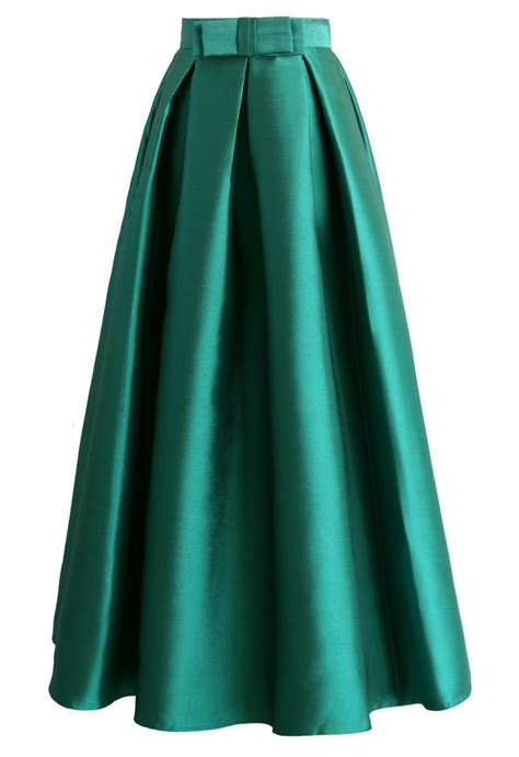 bowknot pleated maxi skirt in green retro