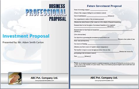 format investment proposal investment proposal template proposal templates
