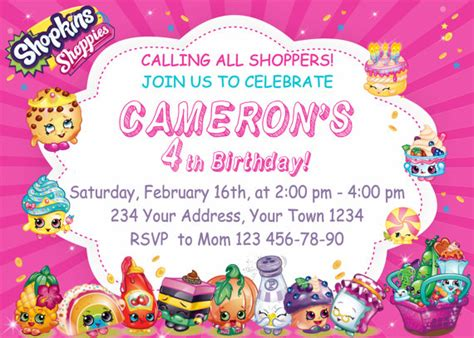 printable birthday cards shopkins shopkins birthday party invitations shopkins by