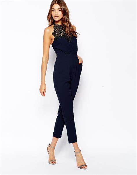 navy jumpsuit by vierra shop lace wrap jumpsuit navy jumpsuits evening jumpsuits chic