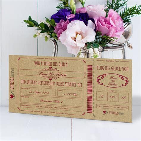 Einladungskarten Hochzeit Vintage by Einladungskarte Hochzeit Vintage Boarding Pass Bordeaux