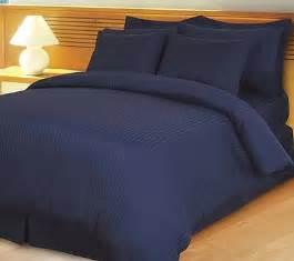 Navy blue damask stripe 4 piece duvet comforter set