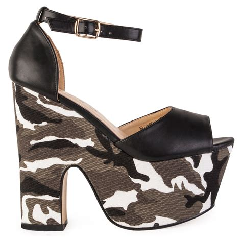 camouflage high heel shoes womens faux leather camo print platform cut out